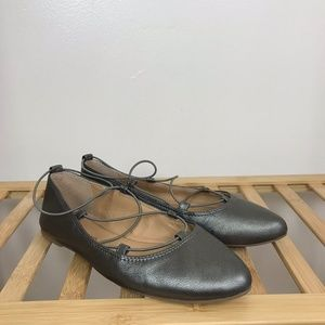 Lucky Brand • Aviee Lace Up Flats Leather Metallic